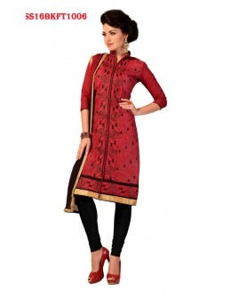 Office Wear Red Chanderi Cotton Salwar Suit  - SS16BKFT1006