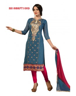 Festival Wear Blue Chanderi Cotton Salwar Suit  - SS16BKFT1009
