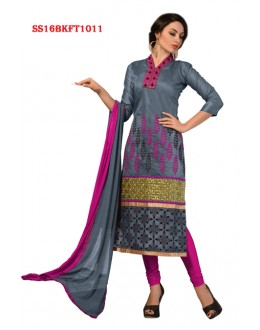 Ethnic Wear Grey Chanderi Cotton Salwar Suit  - SS16BKFT1011