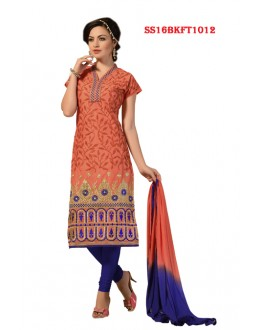 Festival Wear Orange Chanderi Cotton Salwar Suit  - SS16BKFT1012