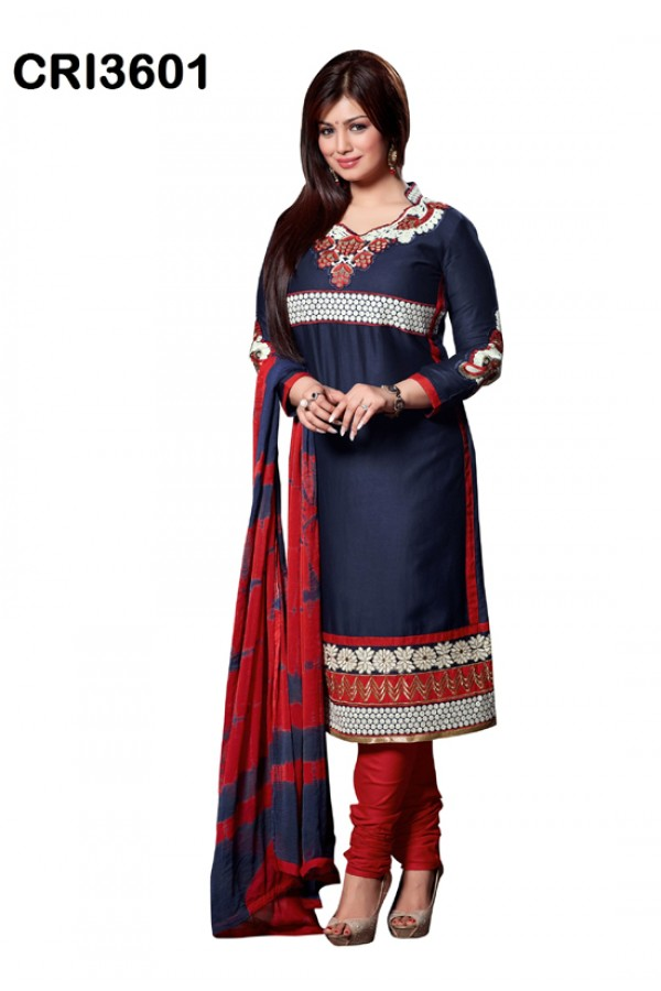Ayesha Takia In Blue Cambric Cotton Salwar Suit - CRI3601