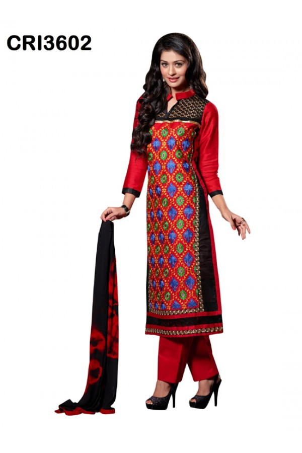 Ethnic Wear Red Cambric Cotton Salwar Suit - CRI3602