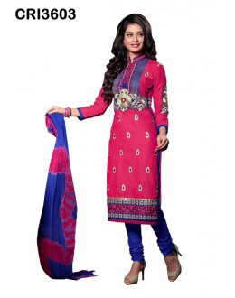 Festival Wear Pink Cambric Cotton Salwar Suit - CRI3603