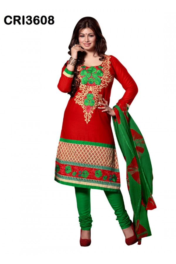 Ayesha Takia In Red Cambric Cotton Salwar Suit - CRI3608
