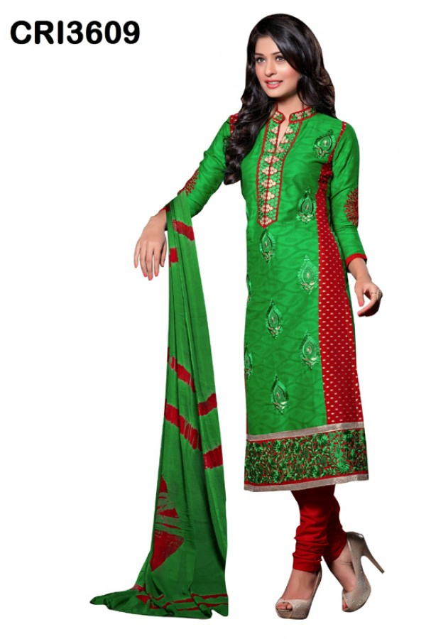 Ethnic Wear Green Cambric Cotton Salwar Suit - CRI3609