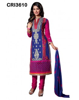 Festival Wear Blue Cambric Cotton Salwar Suit - CRI3610