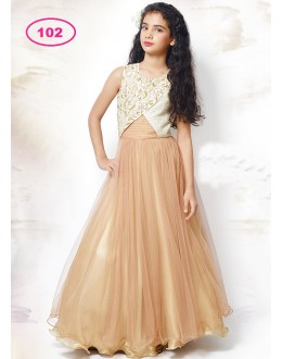 Kids Wear Designer Beige Gown - KDS102