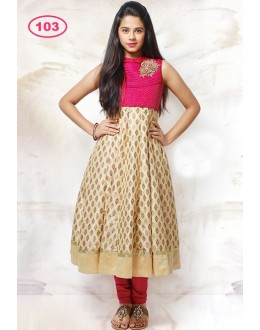 Kids Wear Designer Pink & Beige Anarkali Suit - KDS103