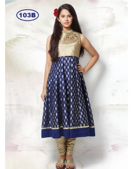 Kids Wear Designer Beige & Blue Anarkali Suit - KDS103B