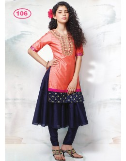 Kids Wear Beautiful Peach & Blue Anarkali Suit - KDS106