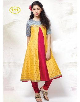 Kids Wear Girl Yellow & Red Anarkali Suit - KDS111