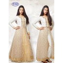 Kids Wear Girl White & Beige Indo Western Lehenga Suit - KDS113