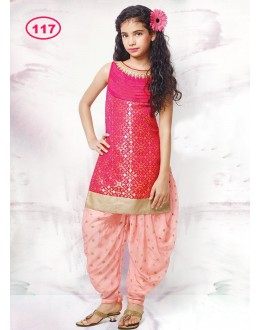 Kids Wear Girl Pink Patiyala Suit - KDS117