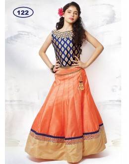 Kids Wear Designer Peach & Blue Lehenga Choli - KDS122