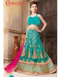 Kids Wear Green & Pink Pure Net Lehenga Choli - CDL10051
