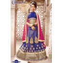 Kids Wear Blue & Pink Pure Net Lehenga Choli - CDL10052
