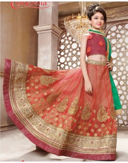 Kids Wear Maroon & Green Pure Net Lehenga Choli - CDL10053
