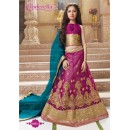 Kids Wear Pink & Blue Pure Net Lehenga Choli - CDL10054