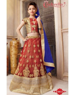 Kids Wear Orange & Blue Pure Net Lehenga Choli - CDL10055