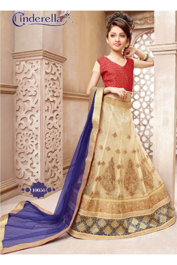 Kids Wear Beige & Blue Pure Net Lehenga Choli - CDL10056