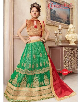 Kids Wear Green & Red Pure Net Lehenga Choli - CDL10057