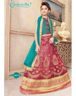 Kids Wear Maroon & Green Pure Net Lehenga Choli - CDL10058