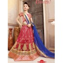 Kids Wear Red & Blue Pure Net Lehenga Choli - CDL10059