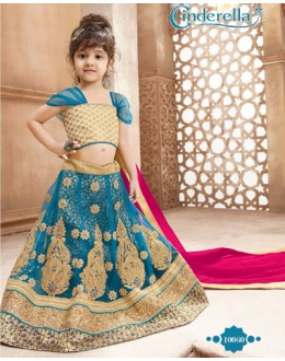 Kids Wear Blue & Pink Pure Net Lehenga Choli - CDL10060