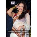 Bollywood Replica - Aishwarya Rai Designer White & Red Saree - 102