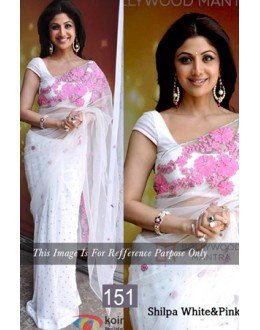 Bollywood Replica - Shilpa Shetty Designer White & Pink Saree - 151