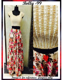 Bollywood Replica-Designer Floral Printed Lehenga With Pearl Work Velvet Blouse - Bolly-99 ( NIRNX )