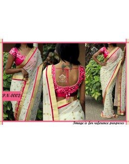 Bollywood Replica - Designer White & Pink Georgette Saree - PN-1002