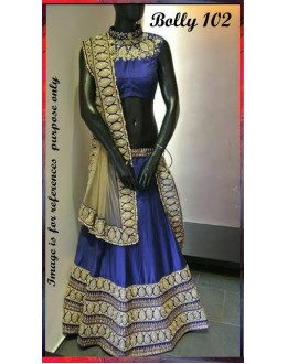 Bollywood Replica -  Designer Blue Banglori Silk Lehenga Choli - Bolly-102