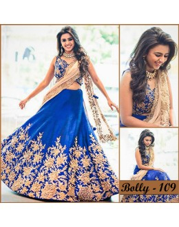 Bollywood Replica - Wedding Wear Blue Raw Silk Lehenga Cholio - Bolly-109