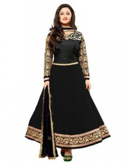 StarMart Women's Georgette Dress Material (SM-21005_Free Size_Black)