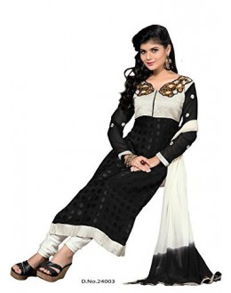 StarMart Women's Georgette Salwar Suit Dress Material (24003 _Black _Free Size)