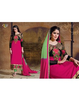 StarMart Women's Georgette Dress Material (SM-2407P_Free Size_pink)