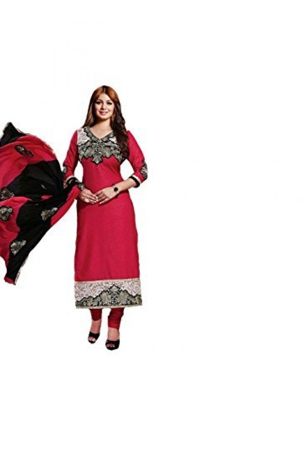 StarMart Women's Cotton Dress Material (SM-2605A_Free Size_red)