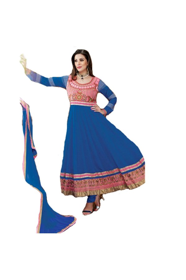 StarMart Women's Georgette Dress Material (SM-3009K_Free Size_Blue)