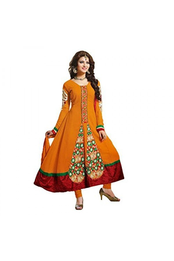 StarMart Women's Georgette Dress Material (SM-4004O_Free Size_orange)