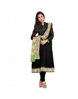 StarMart Women's Georgette Dress Material (SM-5010_Free Size_black)