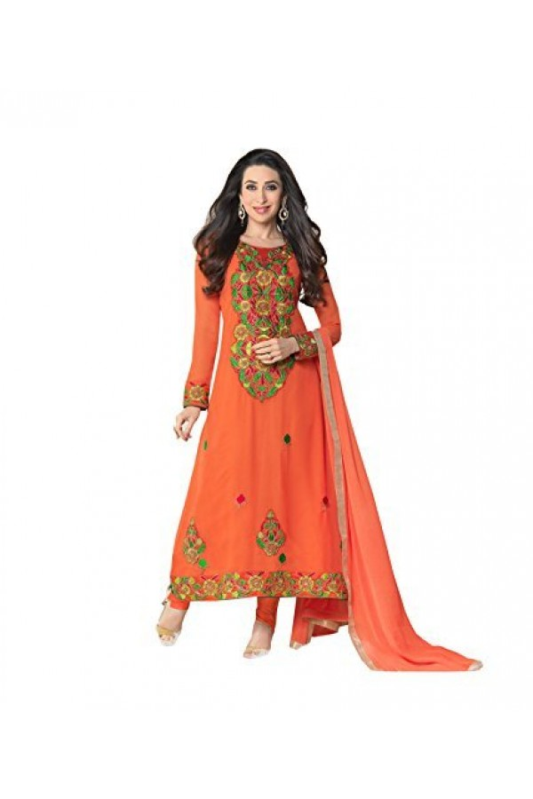 StarMart Women's Georgette Dress Material (SM-5112_Free Size_Orange)