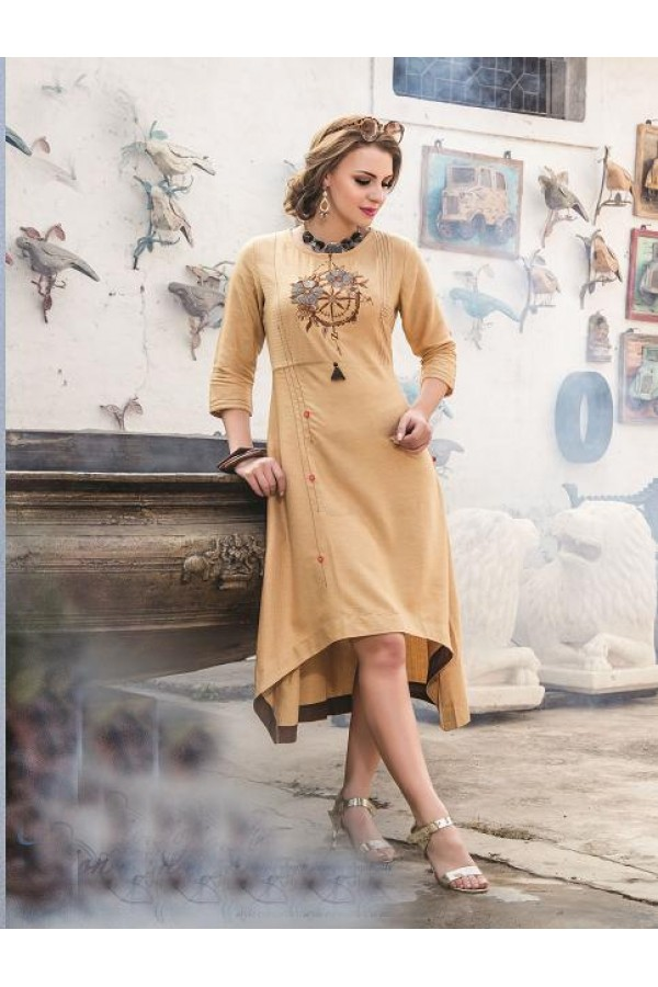 Readymade Denim Doby With Embroidery Trendy Kurti  - 29456