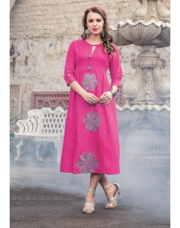Readymade Denim Doby With Embroidery Trendy Kurti  - 29457