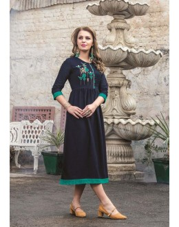 Readymade Denim Doby With Embroidery Trendy Kurti  - 29458