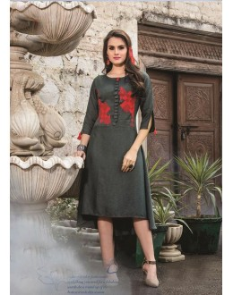 Readymade Denim Doby With Embroidery Trendy Kurti  - 29459