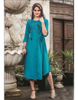 Readymade Denim Doby With Embroidery Trendy Kurti  - 29460