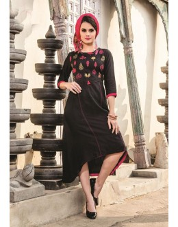Readymade Denim Doby With Embroidery Trendy Kurti  - 29461