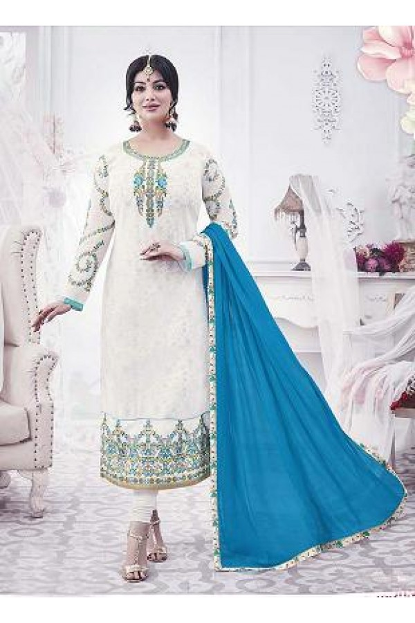 Designer Georgette with Embroiderd work Semi-Stitched Salwar Suit - 29511