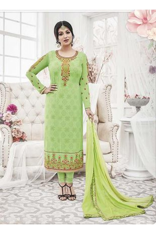 Designer Georgette with Embroiderd work Semi-Stitched Salwar Suit - 29517